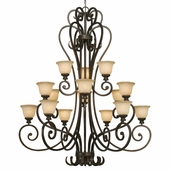 Golden Lighting (GLDN-8063-15L) Heartwood 3 Tier - 15 Light Chandelier shown in Burnt Sienna with Tea Stone Glass
