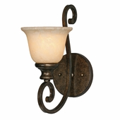 Golden Lighting (GLDN-8063-1W) Heartwood 1 Light Wall Sconce shown in Burnt Sienna with Tea Stone Glass