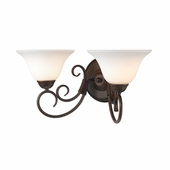Golden Lighting (GLDN-8606-BA2) Homestead 2 Light Bath Vanity shown in Rubbed Bronze with Opal Glass