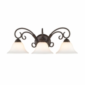 Golden Lighting (GLDN-8606-BA3) Homestead 3 Light Bath Vanity shown in Rubbed Bronze with Opal Glass