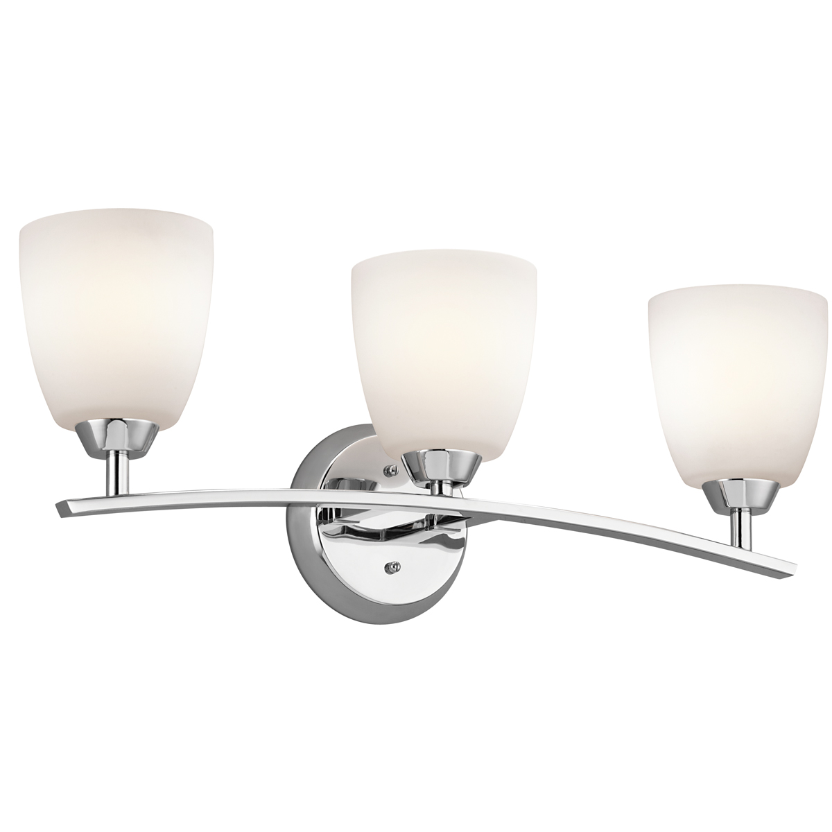 Kichler lighting 45360ch granby 3 light bath fixture in for Bathroom 3 light fixtures