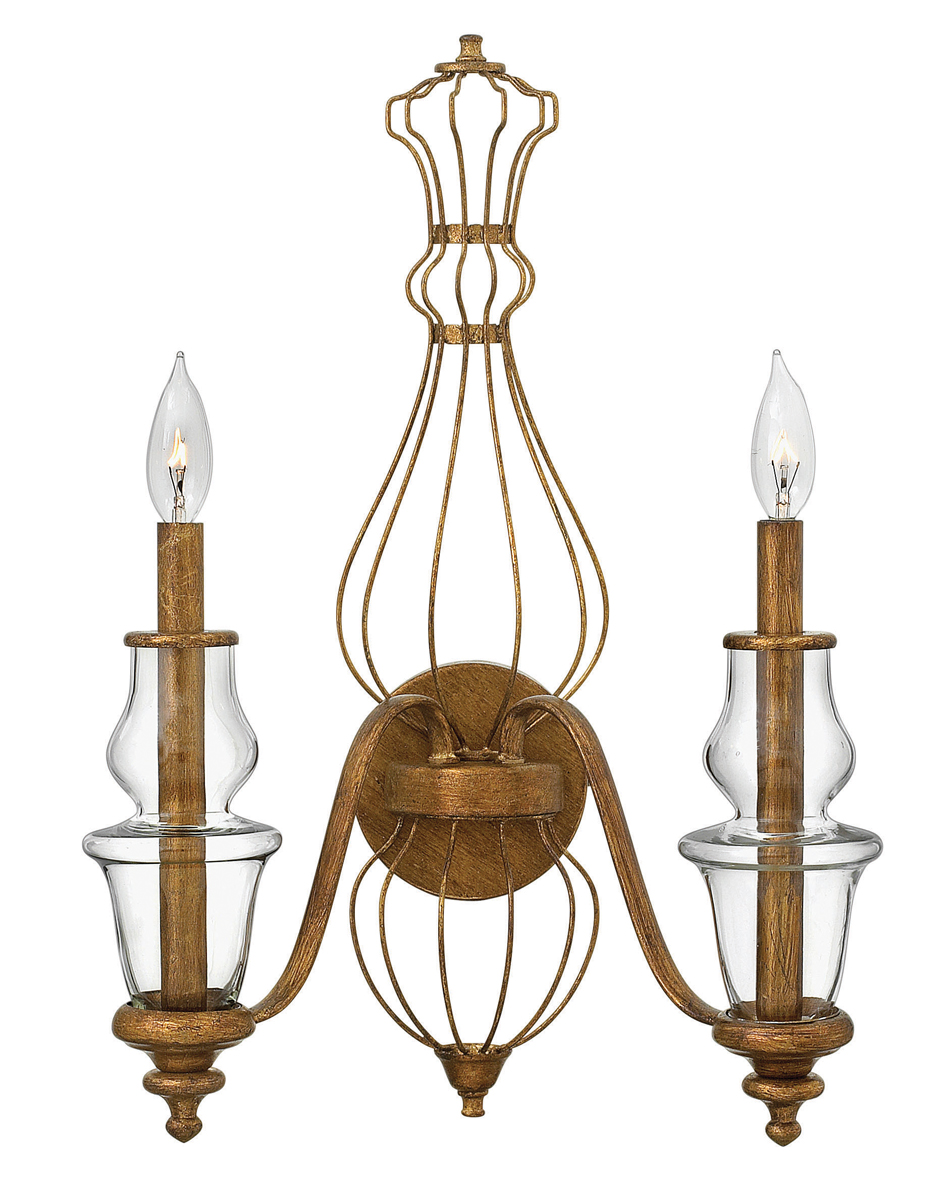 Gold Wall Sconces With Shades : Hinkley Lighting (3082GF) Celine 2-Light Wall Sconce in Antique Gold Leaf with Clear Shade
