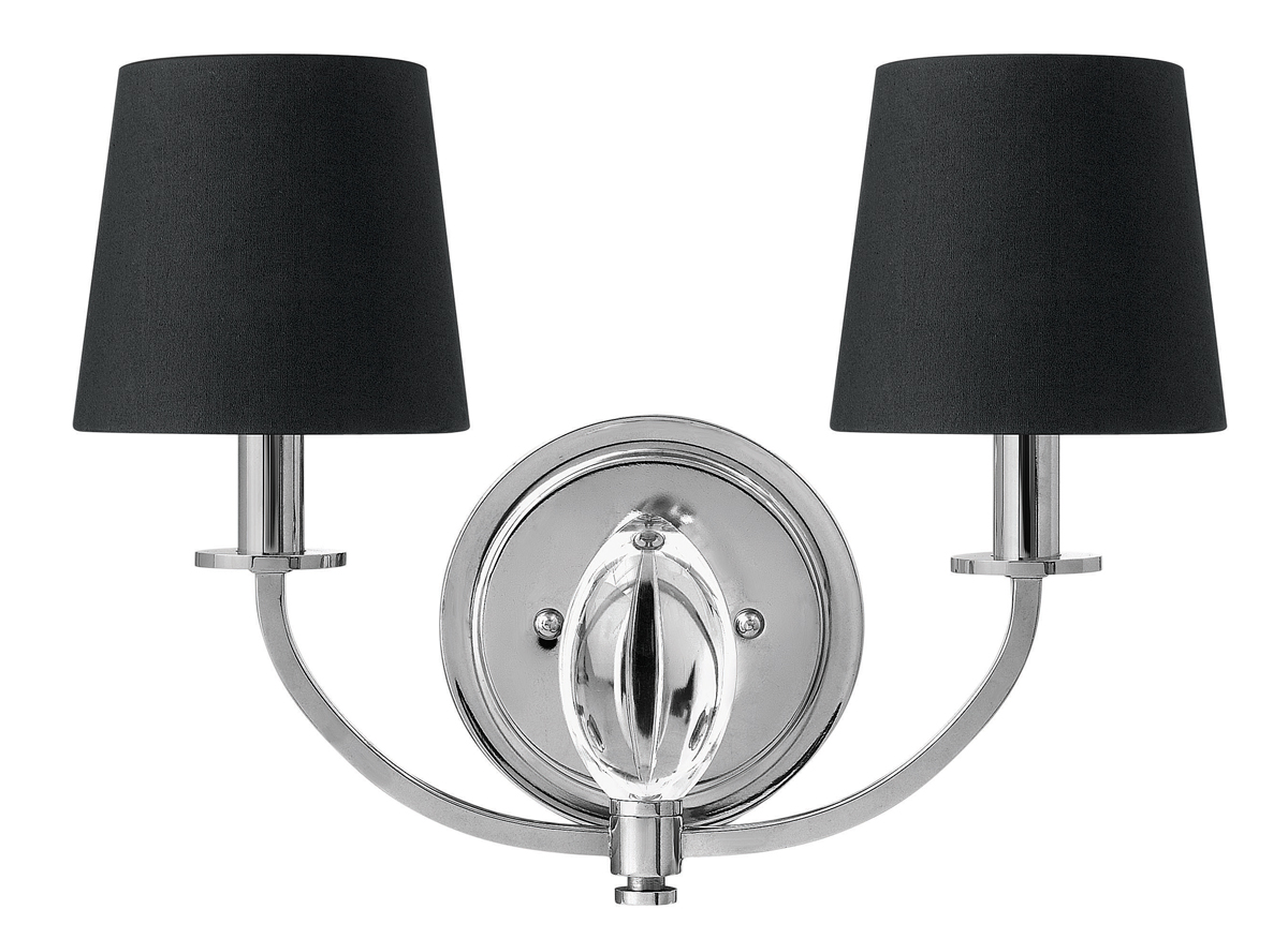 Chrome Wall Sconce With Black Shade : Hinkley Lighting (3752CM) Marielle 2-Light Wall Sconce in Chrome with Black Silk Gold Lined Shade