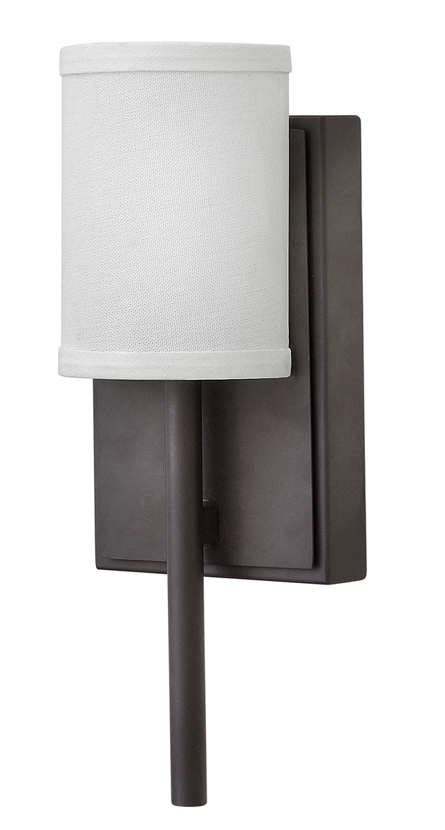 Hinkley Lighting (61111OZ) Avenue Wall Sconce in Oil Rubbed Bronze with Linen Shade