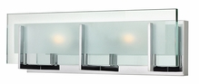 Hinkley Lighting (5652CM) Latitude 2-Light Bathroom Vanity Fixture in Chrome with Clear Beveled Inside-Etched Shade
