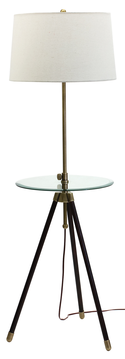 Wall Hugging Floor Lamp : House of Troy (TR202) Tripod Adjustable Floor Lamp with Table shown in Antique Brass