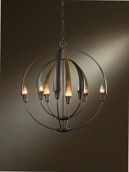 Hubbardton Forge (104205) 8 Light Cirque Large Chandelier shown in Dark Smoke Translucent Finish