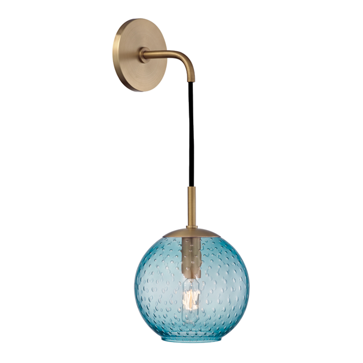 Hudson Valley Lighting (2020) Rousseau 1 Light Wall Sconce-Blue Glass shown in Aged Brass with ...
