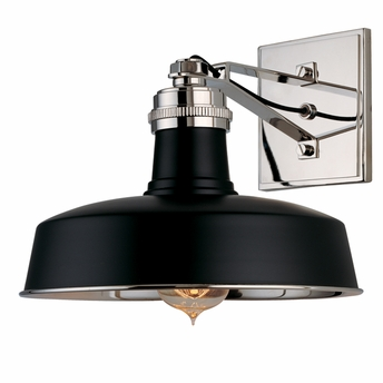 Hudson Valley Lighting (8601) Hudson Falls 1 Light Wall Sconce shown in Black/Polished Nickel