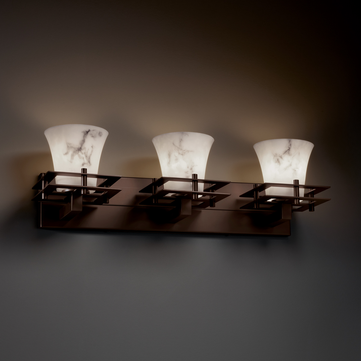 Justice Design (FAL-8173) Metropolis 3-Light Bath Bar from the LumenAria Collection