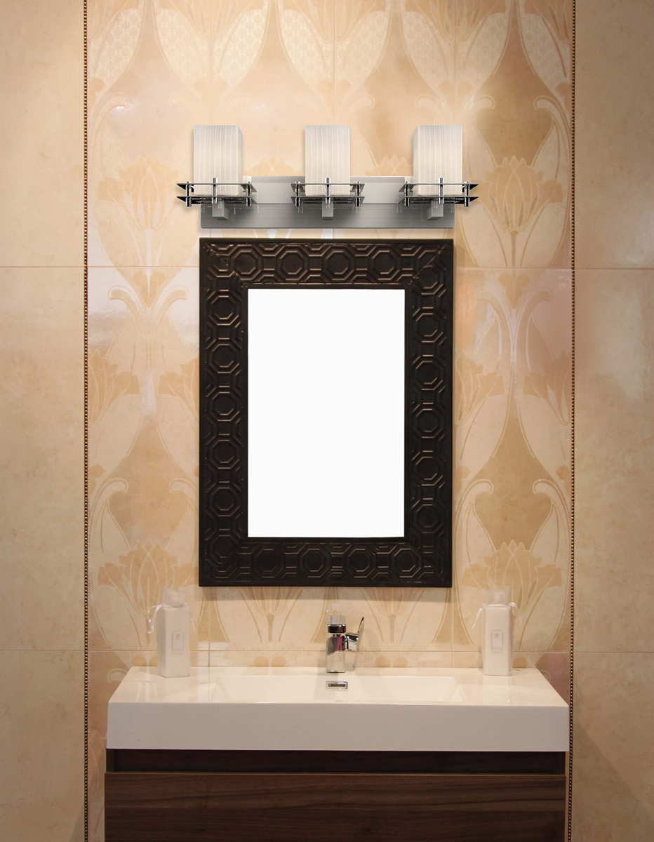 Justice Design (FSN-8173) Metropolis 3-Light Bath Bar from the Fusion Collection