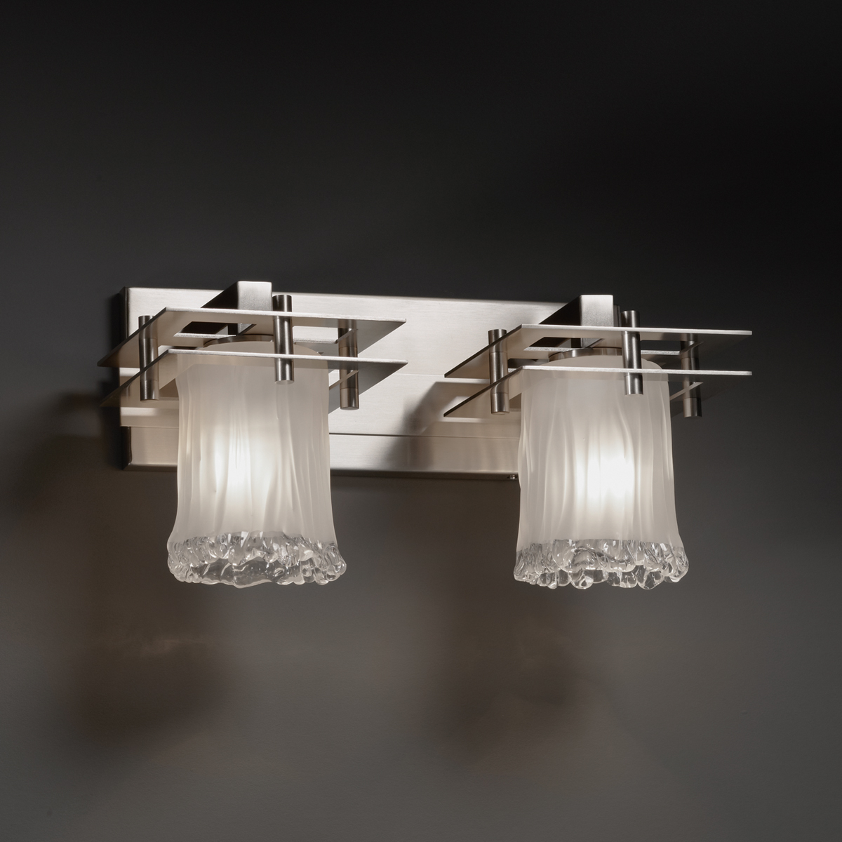 Justice Design (GLA-8172) Metropolis 2-Light Bath Bar from the Veneto Luce Collection