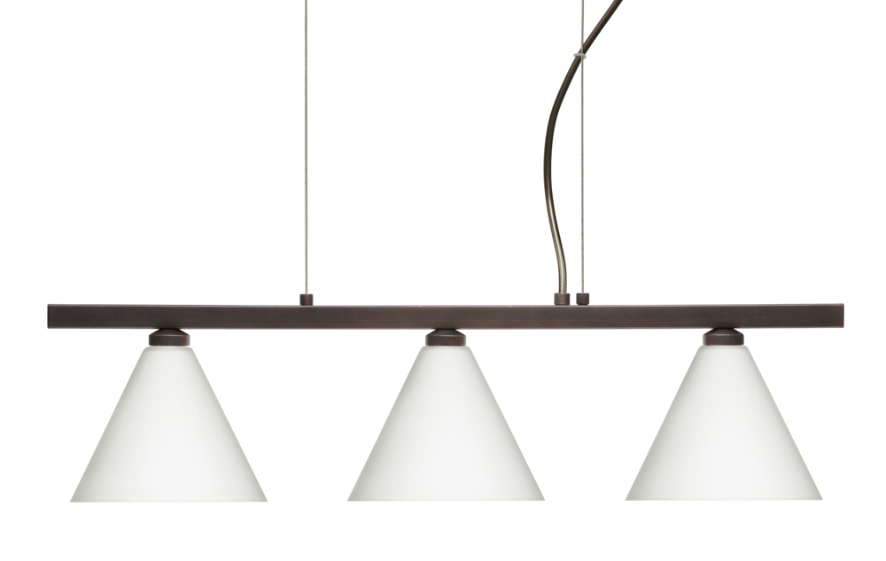 Kani Pendant 3 Light Linear Fixture shown in Bronze with Opal Matte Glass Shade by Besa Lighting ...