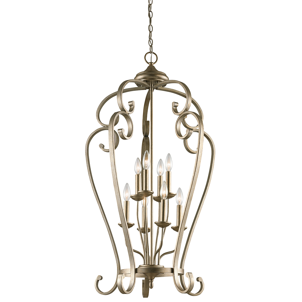 Kichler lighting 43166sgd monroe 8 light foyer cage for Unique foyer chandeliers