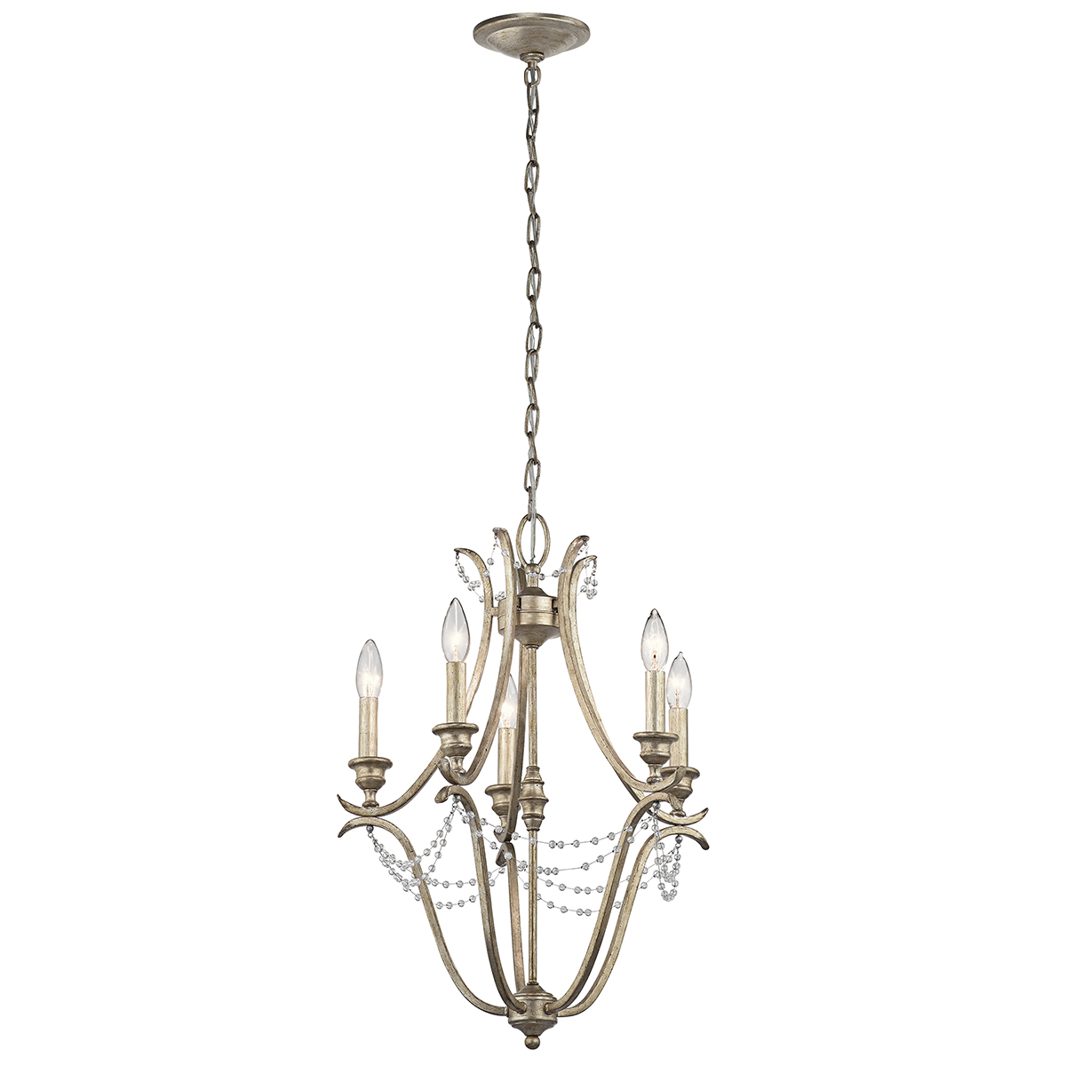 Mini Chandelier String Lights : Kichler Lighting (43607SGD) Abellona 5-Light Mini Chandelier in Sterling Gold