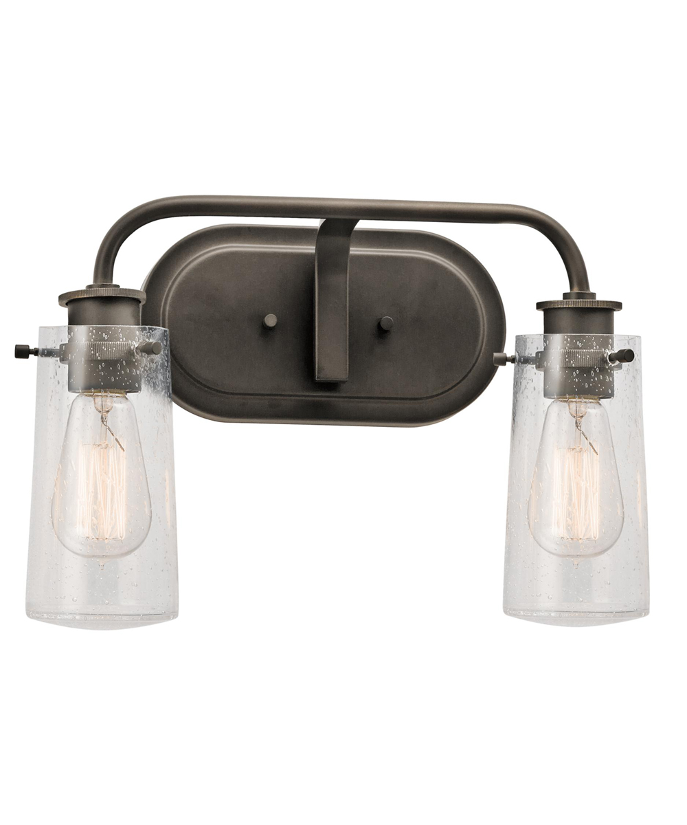 Kichler lighting 45458oz braelyn 2 light bath fixture in for Bathroom 2 light fixtures