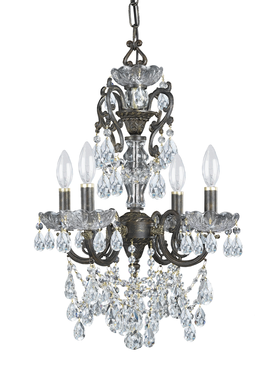 Mini Chandelier String Lights : Crystorama (5194-EB-CL-S) Legacy 4 Light Swarovski Crystal Bronze Mini Chandelier