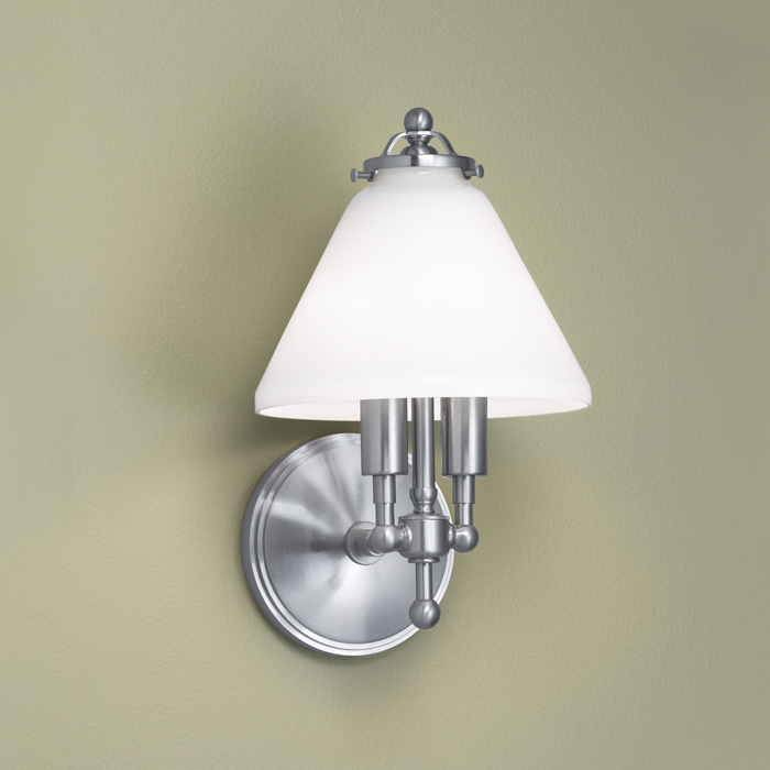 lenxo wall sconce in brushed nickel finish by norwell