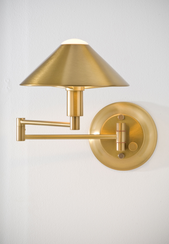 Wall Hugging Floor Lamp : Lighting For The Aging Eye Halogen Swing-Arm Wall Sconce shown in Antique Brass by Holtkoetter ...