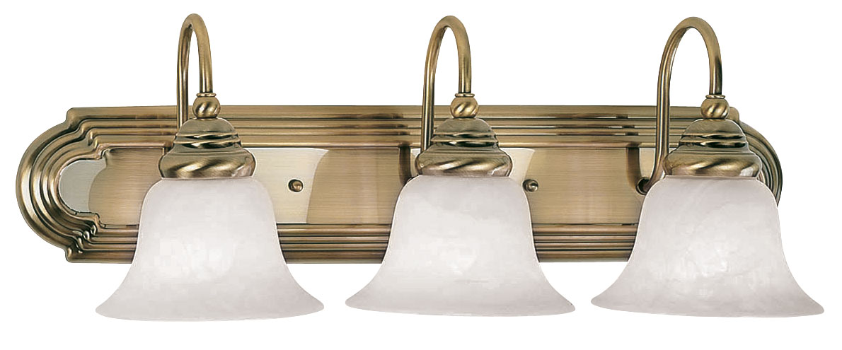 Livex Lighting 1003 Belmont 3 Light Bathroom Vanity Fixture Shown In Antique Brass