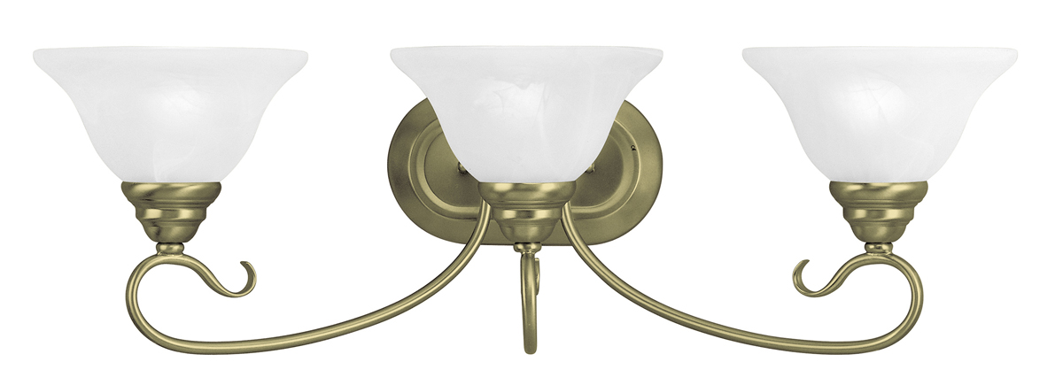 Livex Lighting 6103 Coronado 3 Light Bathroom Vanity Fixture Shown In Antique Brass