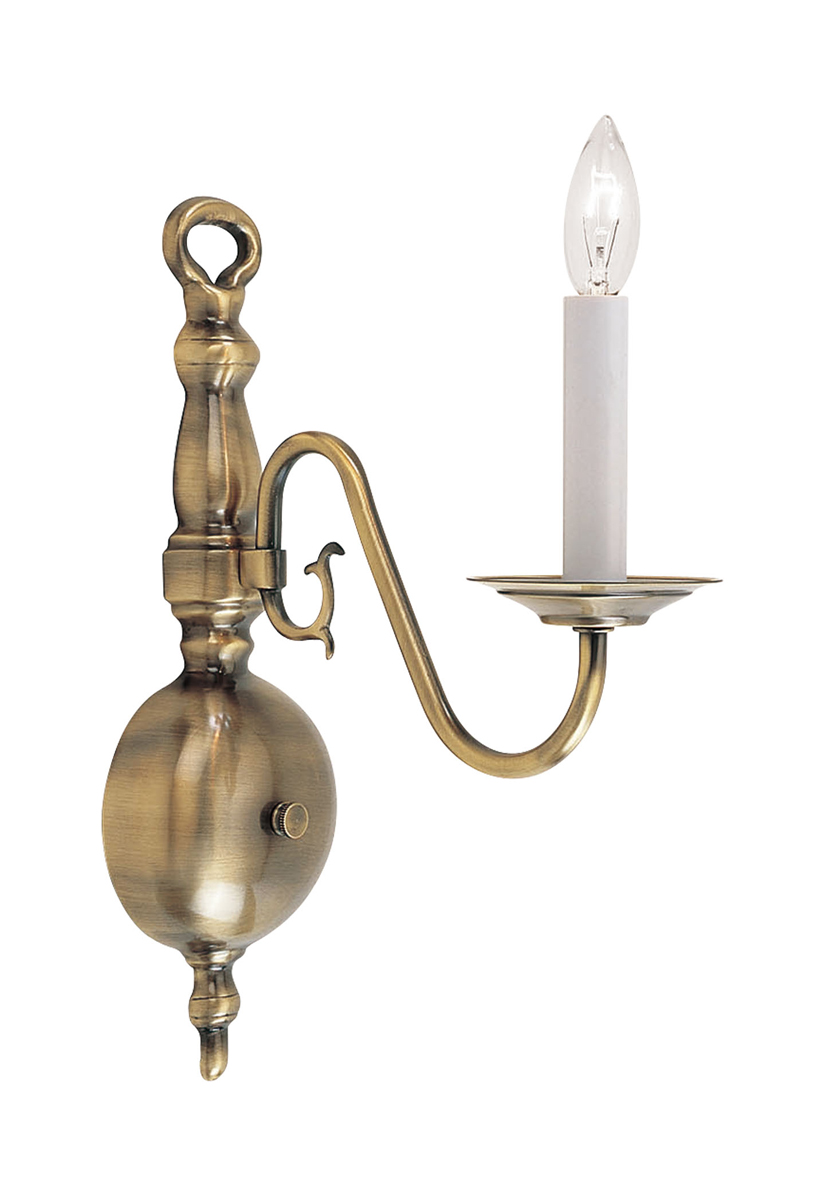Wall Sconces Antique Brass : Livex Lighting (5001) Williamsburg 1 Light Wall Sconce shown in Antique Brass