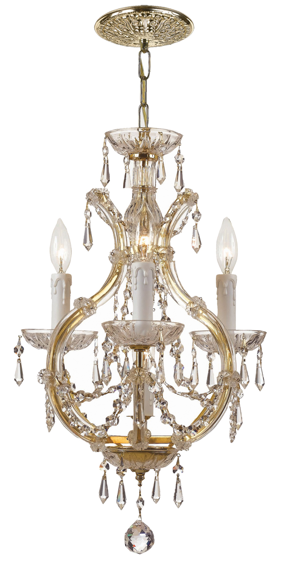 Mini Chandelier String Lights : Crystorama (4473-GD-CL-S) Maria Theresa 4 Light Swarovski Crystal Gold Mini Chandelier I