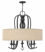 Hinkley Lighting (4473TB) Marion 5-Light Drum Chandelier in Textured Black with Oatmeal Linen Shade