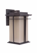 Exteriors by Craftmade (Z5214-92) Winslow 1 Light Medium Wall Mount in Oiled Bronze & Amber Frost Glass