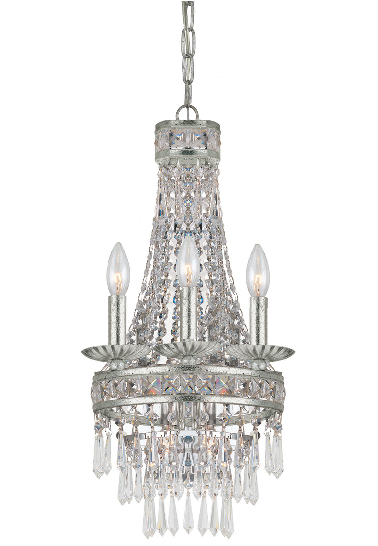 Mini Chandelier String Lights : Crystorama (5263-OS-CL-MWP) Mercer 4 Light Olde Silver Mini Chandelier