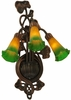 Meyda Tiffany (17158) 10.5 Inch Width Amber/Green Pond Lily 3 Light Wall Sconce