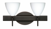 Mia 2 Light Wall Sconce Vanity shown in Bronze with Opal Matte Glass Shade by Besa Lighting