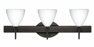 Mia 3 Light Wall Sconce Vanity shown in Bronze with Opal Matte Glass Shade by Besa Lighting