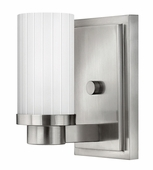 Hinkley Lighting (4970BN) Midtown Single Light Wall Sconce in Brushed Nickel with Multi-Faceted Etched Shade