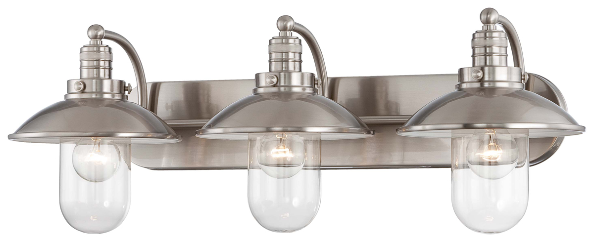 Minka lavery 5133 84 downtown edison 3 light bath vanity fixture for Edison bathroom light fixtures