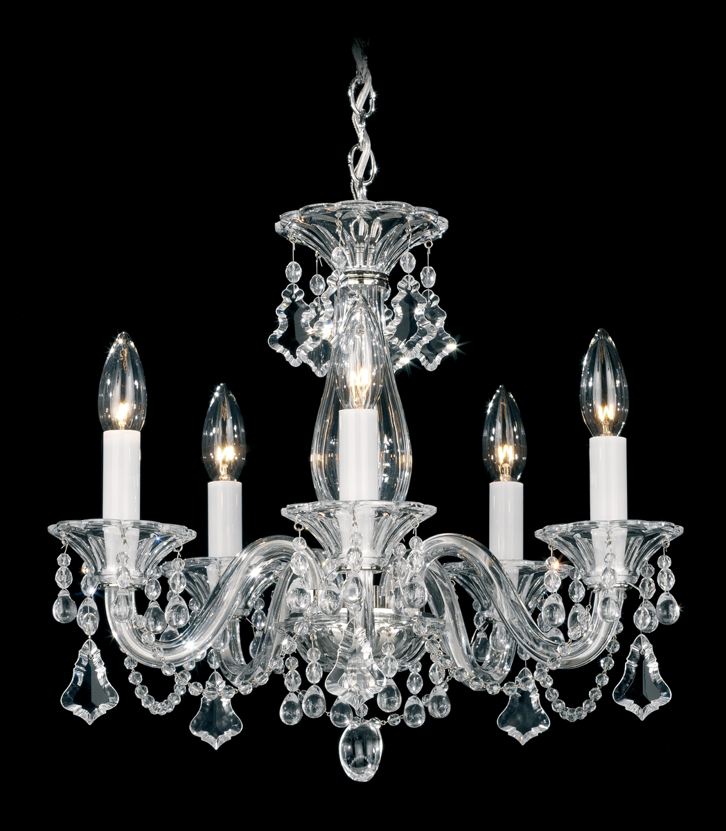 Mini Chandelier String Lights : Schonbek Lighting (6985) Minuet 5 Light Chandelier shown in Silver Finish