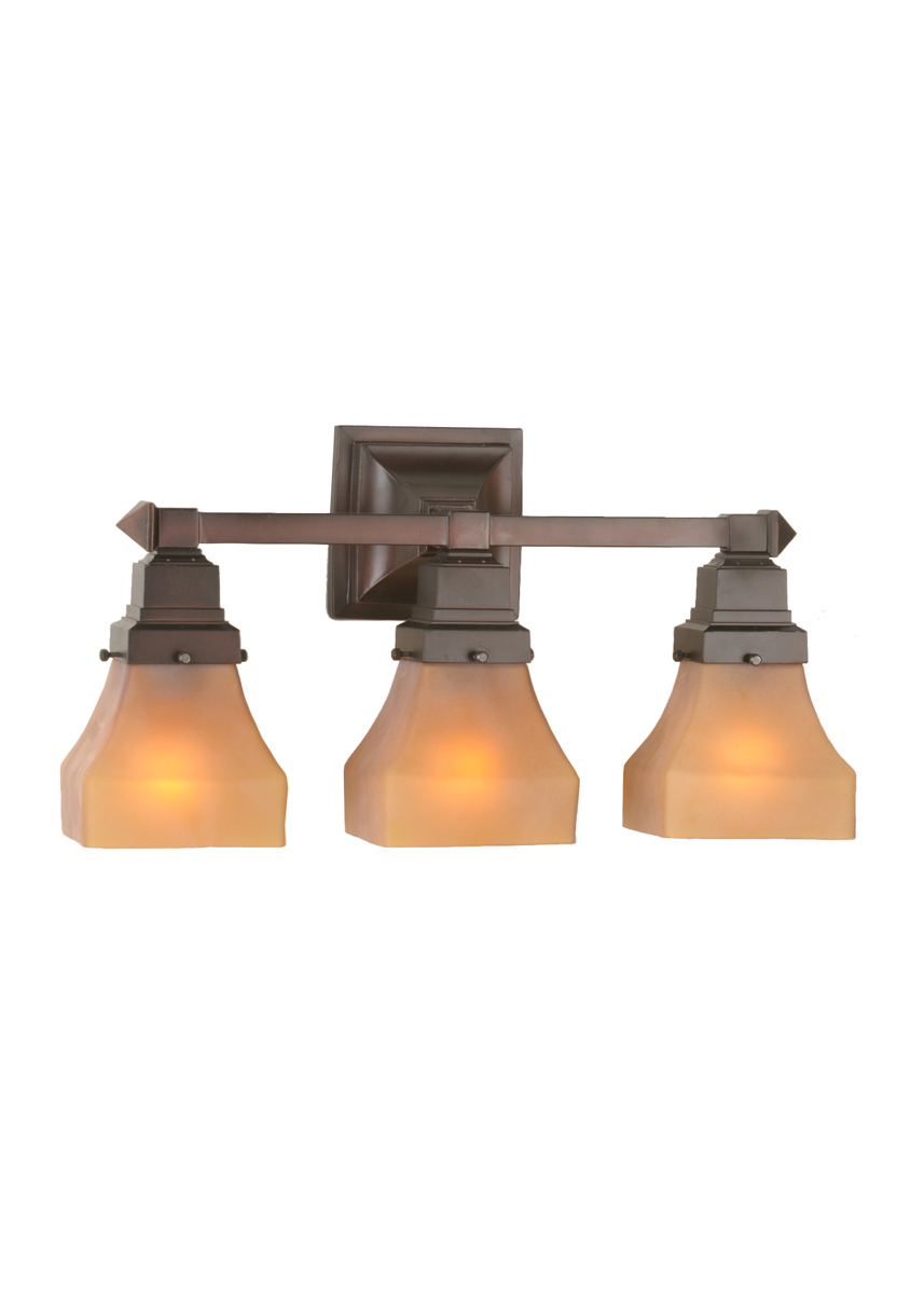 String Lights Vanity : Meyda Tiffany (50362) 20 Inch Width Bungalow Frosted Amber 3 Light Vanity