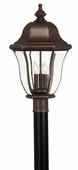 Hinkley Lighting (2331CB) Monticello Large Outdoor Post Light in Copper Bronze with Clear, Bent, Beveled & Bound Shade