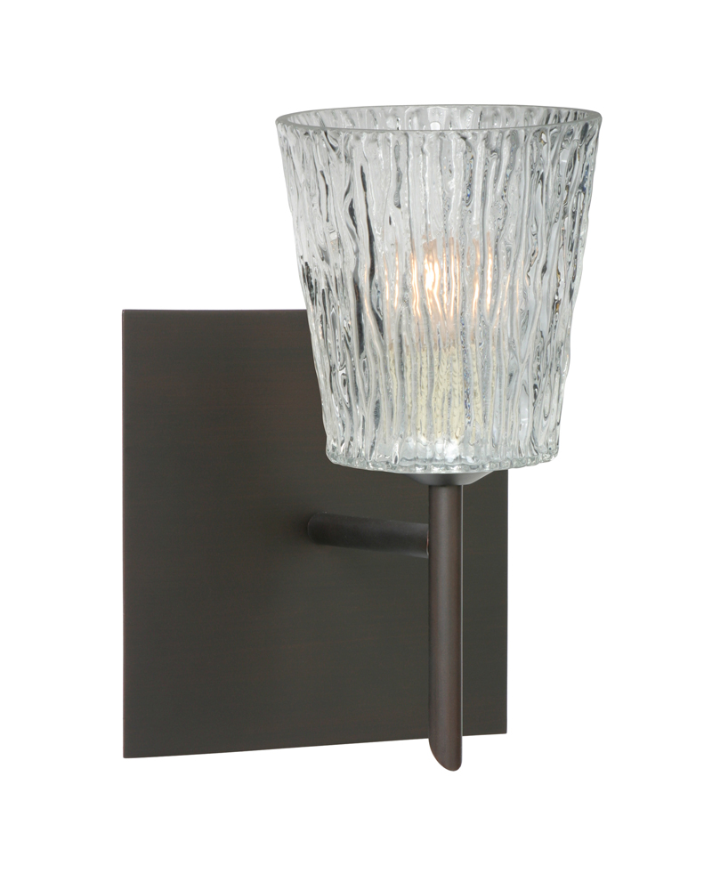 Wall Lamps Vanity : Nico 4 1 Light Wall Sconce Vanity shown in Bronze with Clear Stone Glass Shade by Besa Lighting ...