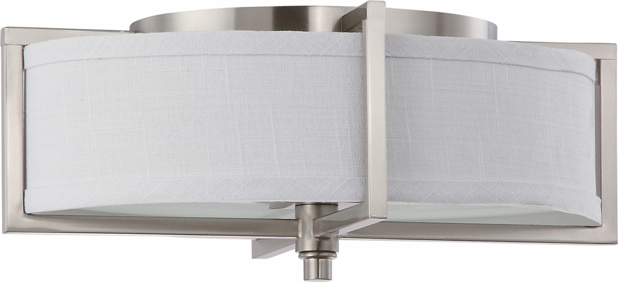 nuvo lighting portia energy saver 2 light oval flush with fabric shade lamps included - Nuvo Lighting