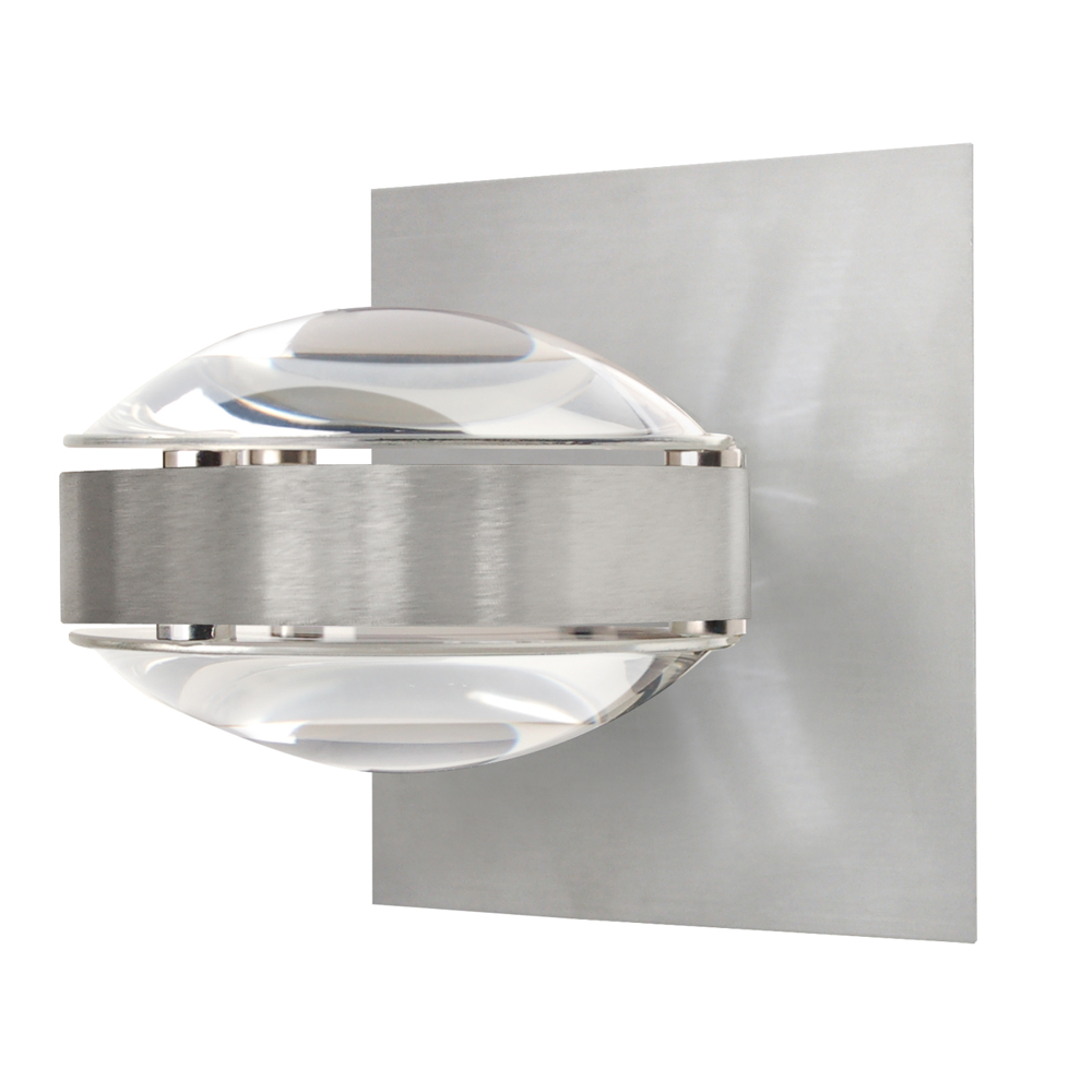 Glacia Wall Light Brushed Chrome 40w : Optos Wall Sconce Vanity shown in Brushed Aluminum with Clear/Clear Glass Shade by Besa Lighting ...