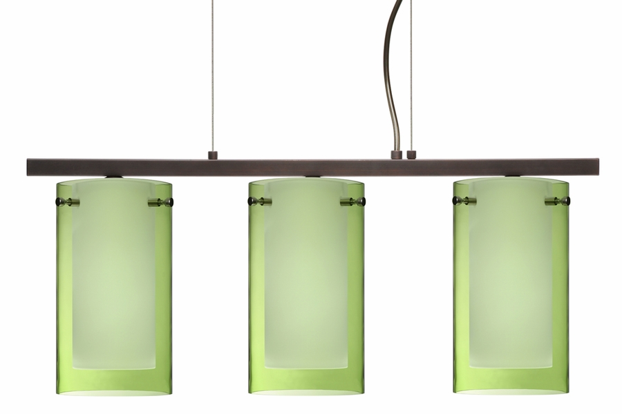 pahu 4 pendant 3 light linear fixture shown in bronze with transparent glass - Besa Lighting