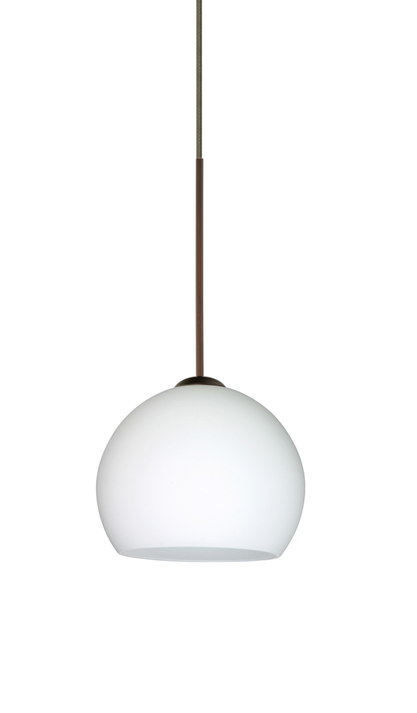 Palla 5 LED Pendant Flat Canopy Fixture shown in Bronze with Opal Matte Glass Shade by Besa ...