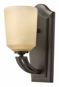 Hinkley Lighting (4430KZ) Parker Single Light Wall Sconce in Buckeye Bronze with Light Amber Etched Linen Shade
