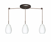 pera 6 pendant 3 light linear cord fixture shown in bronze with opal matte glass shade - Besa Lighting
