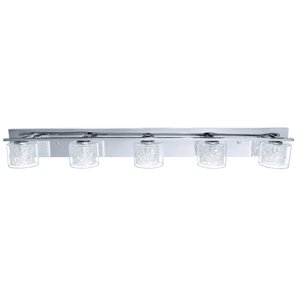 Vanity Light Clear Glass : Eglo Lighting (200267A) Pianella 5 Light Vanity Fixture in Chrome