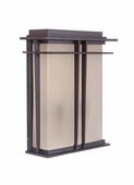 Exteriors by Craftmade (Z5222-92) Winslow 2 Light Pocket Wall Mount in Oiled Bronze & Amber Frost Glass