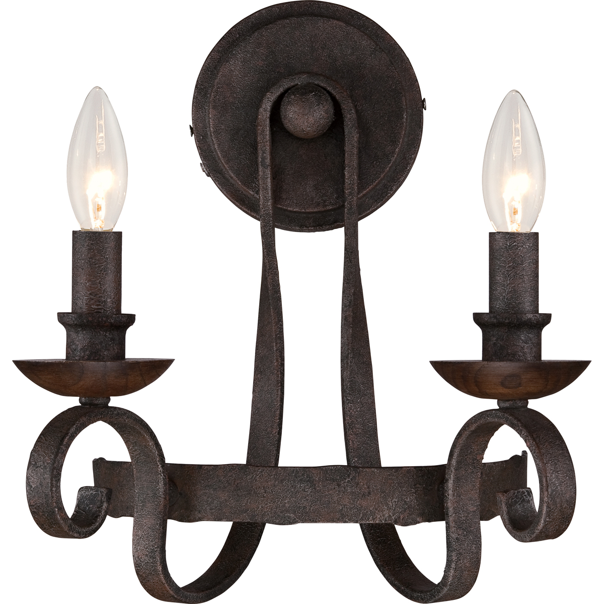 Klaffs Wall Sconces : Quoizel Lighting (NBE8702RK) Noble 2-Light Wall Sconce in Rustic Black