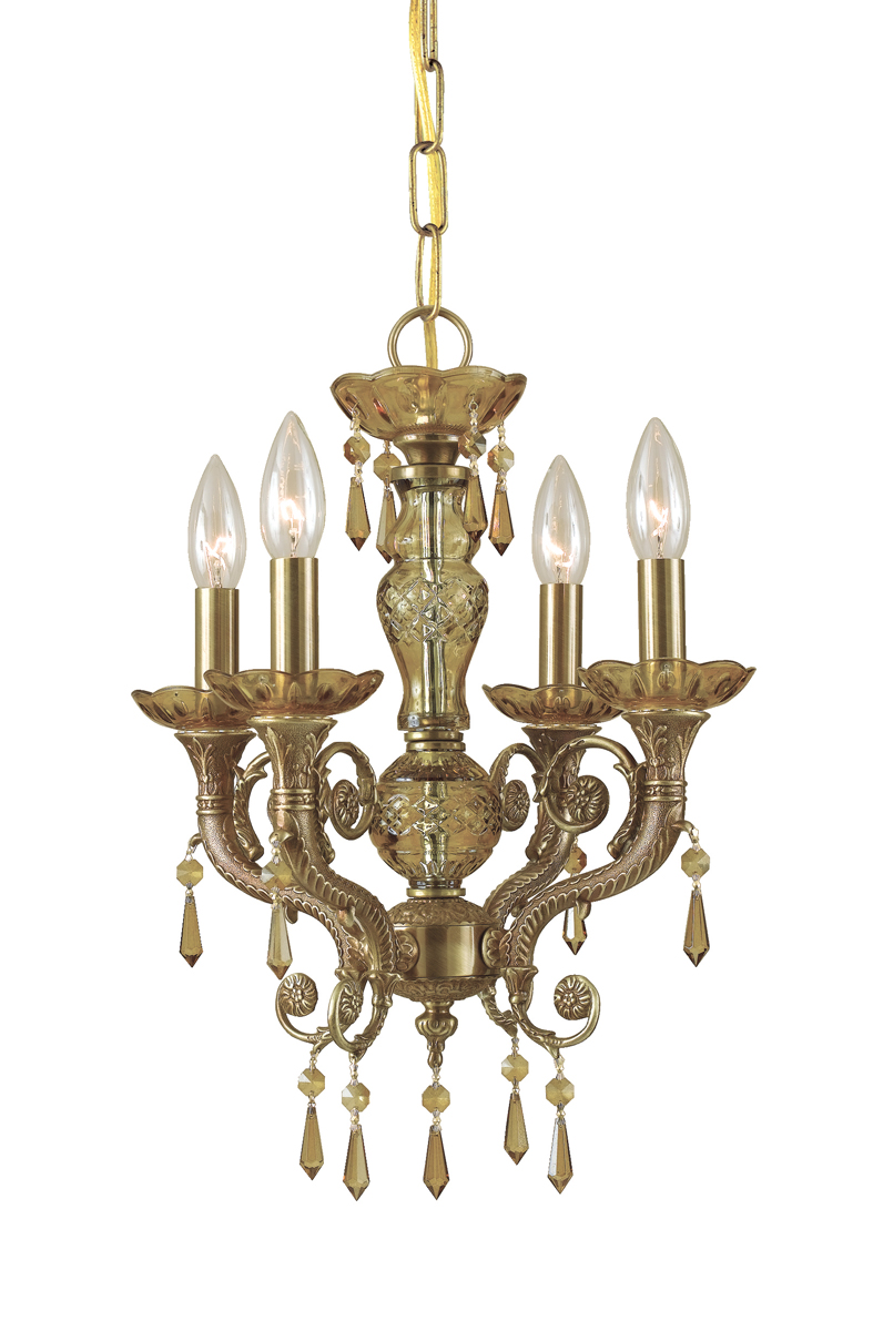 Mini Chandelier String Lights : Crystorama (5174-AG-GTS) Regal 4 Light Golden Teak Swarovski Brass Crystal Mini Chandelier