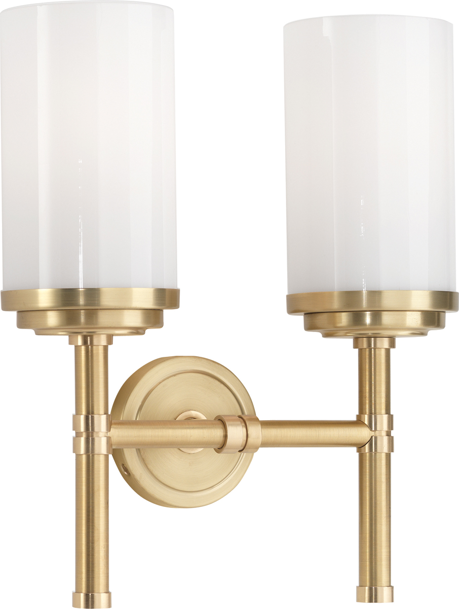 Wall Sconces Double : Robert Abbey (1325) Halo Double Wall Sconce shown in Brushed Brass & Polished Brass Accents